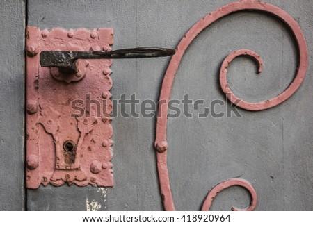 detail of a castle door - stock photo
