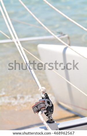 Detail of a catamaran on the beach ready to go to the open sea