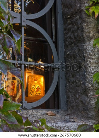 Detail of a church window at Kalemegdan fortress in Belgrade, Serbia - stock photo