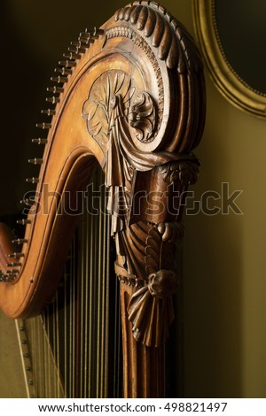 Detail of a classic harp close up