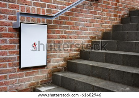 stock photo detail of a closed fuse box with white door under the stairs brick wall outdoor 61602946 detail closed fuse box white door stock photo 61602946 shutterstock how to open fuse box door at mifinder.co