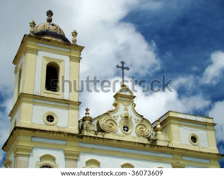 detail of a colonial church in salvador, bahia, brazil