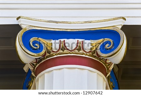 Detail of a colorful ionic order capital from Achillion palace at Corfu island, Greece