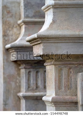 detail of a concrete pillar from a terrace house in melbourne with selective focus - stock photo