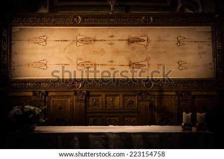 Detail of a copy of the Holy Shroud of Turin, Italy - stock photo