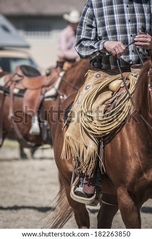 Detail of a cowboy - stock photo