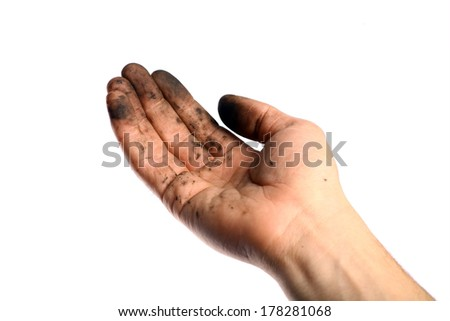 Detail of a dirty hand, isolated on white - stock photo
