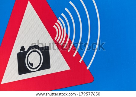 Detail of a Dutch traffic sign with speed camera warning - stock photo