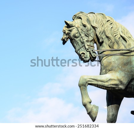 Detail of a equestrian statue representing the General Joan Prim on a horse in Barcelona Spain - stock photo
