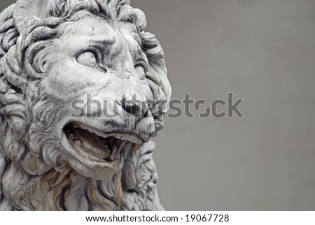 Detail of a famous lion statue  in Florence, Italy