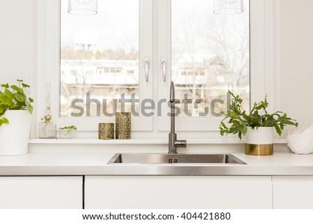 detail of a fancy kitchen sink - stock photo