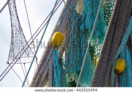 Detail of a fishnet of a shrimp boat in the North Sea.
