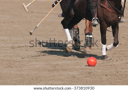 Detail of a game of polo played on an italian beach - stock photo