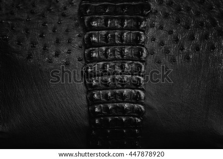 detail of a handbag made of crocodile and ostrich leather. - stock photo