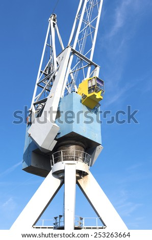 detail of a harbor crane in the rotterdam port - stock photo