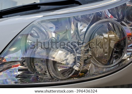 Detail of a headlight of a car