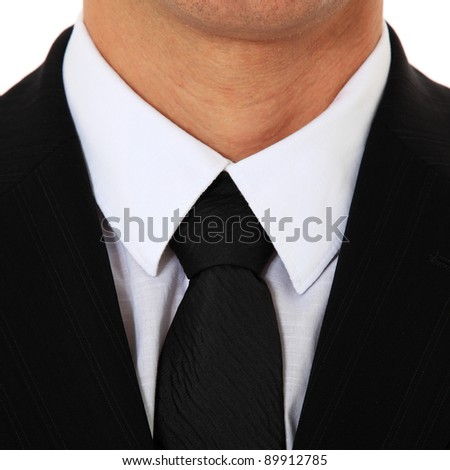 Detail of a knot of a tie. All on white background. - stock photo