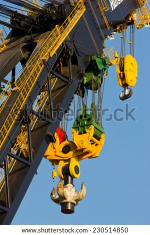 Detail of a large crane, designed for heavy offshore operations - stock photo