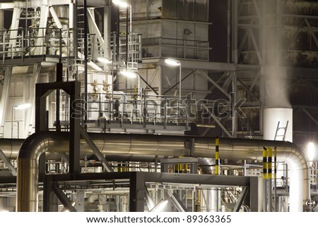 Detail of a large oil-refinery plant situated in the Botlek, Rotterdam, The Netherlands - stock photo