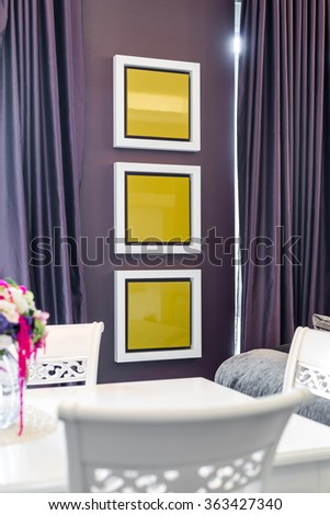 Detail of a living room - decoration on wall - stock photo