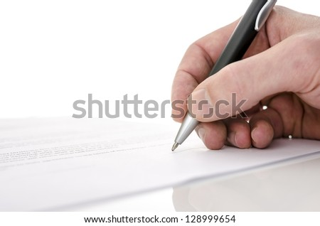Detail of a man signing a contract. Shallow dof. - stock photo