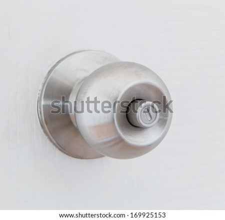 Detail of a metallic knob on white door , tainless steel round ball door knob