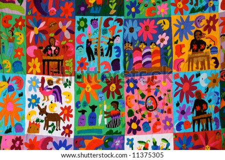Detail of a Mexican blanket for sale in a market near Chichen Itza - stock photo