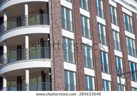Detail of a modern apartment building seen in Berlin - stock photo