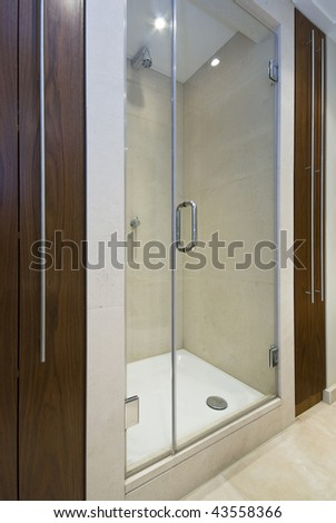 detail of a modern en-suite shower with a wooden cabinets