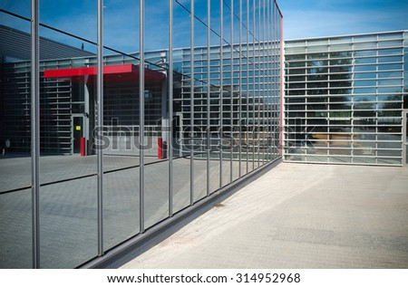 detail of a newly build modern warehouse - stock photo