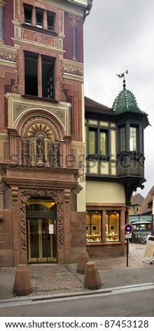 detail of a ornamented house facade in Selestat - stock photo