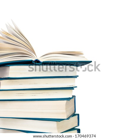 Detail of a pile of books on a white background  - stock photo