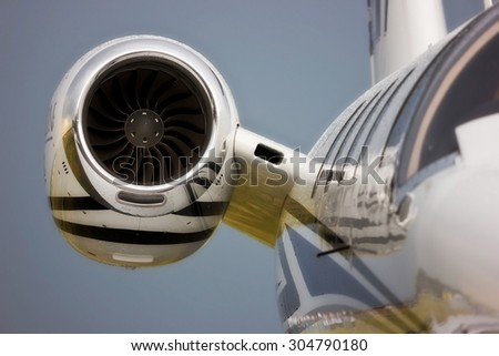 Detail of a Private Jet Engine - stock photo