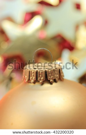 detail of a red Christmas ornament in extreme close-up