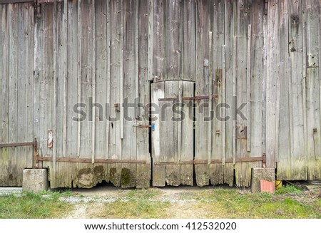 detail of a rundown old wooden barn in Southern Germany - stock photo