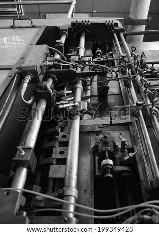 Detail of a rusted machine in factory, Black and White tone