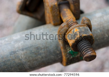 Detail of a scaffolding connection - stock photo