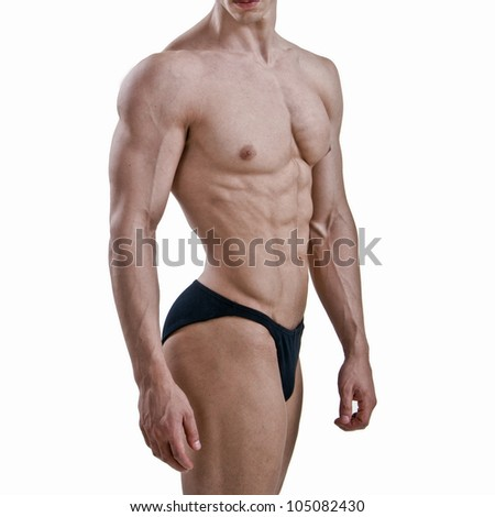 Detail of a sexy muscular shirtless man - stock photo