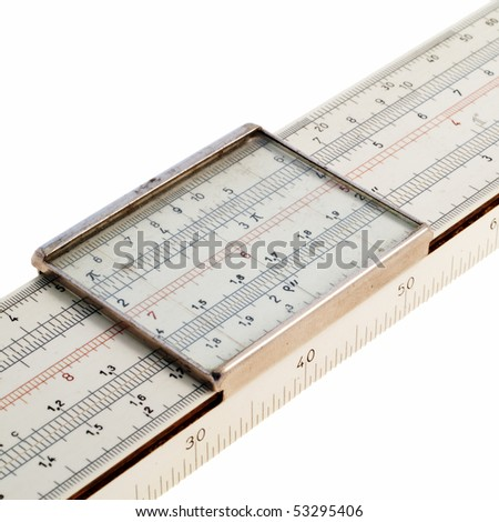 Detail of a slide rule against a white background - stock photo