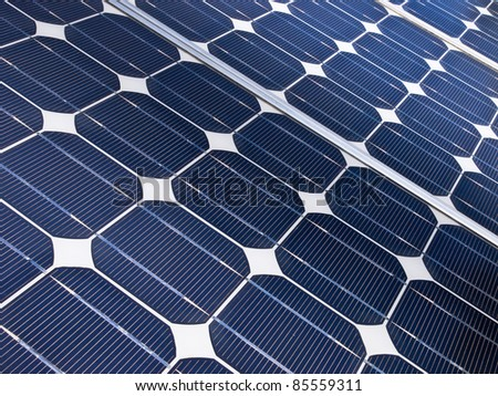 detail of a solar cell panel on a beautiful sunny day