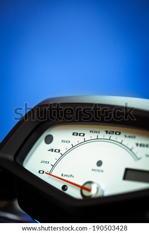 Detail of a speedometer of a motorcycle.