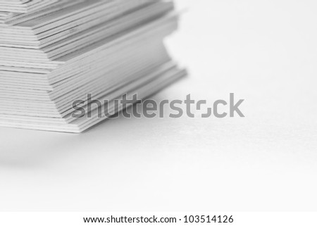 Detail of a Stack of white cardboard - shallow focus