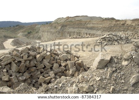 detail of a stone pit in Southern Germany at summer time - stock photo