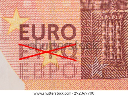 Detail of a ten Euro note with crossed out Greek lettering - stock photo