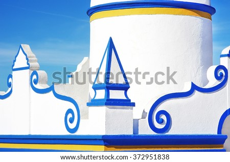 Detail of a typical old, whitewashed public fountain.Alentejo, Portugal - stock photo