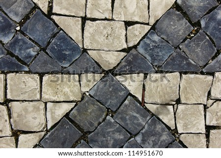 Detail of a typical portuguese pavement - stock photo