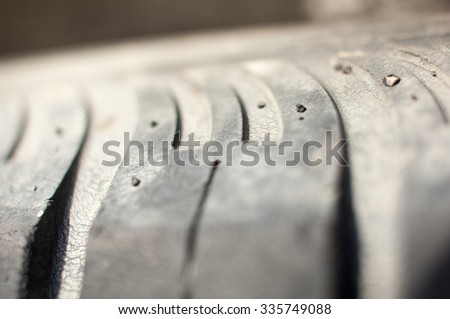 Detail of a used tire.