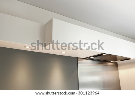 Detail of a vaulted ceiling without joints in a kitchen room - stock photo