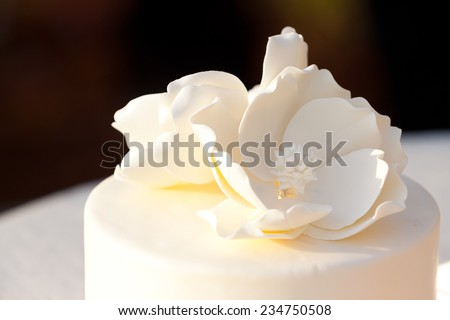 Detail of a white wedding cake at a reception. - stock photo