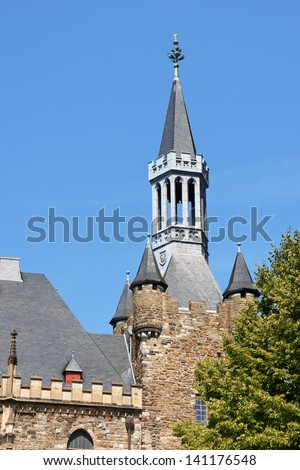 Detail of Aachen Town Hall, in gothic style. This building was built by citizens on the ruins of Charlemagne's Palace in the 14th Century in Aachen, North Rhine-Westphalia, Germany. - stock photo